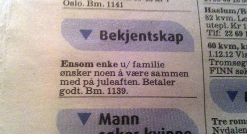 Slik så annonsen i Aftenposten ut