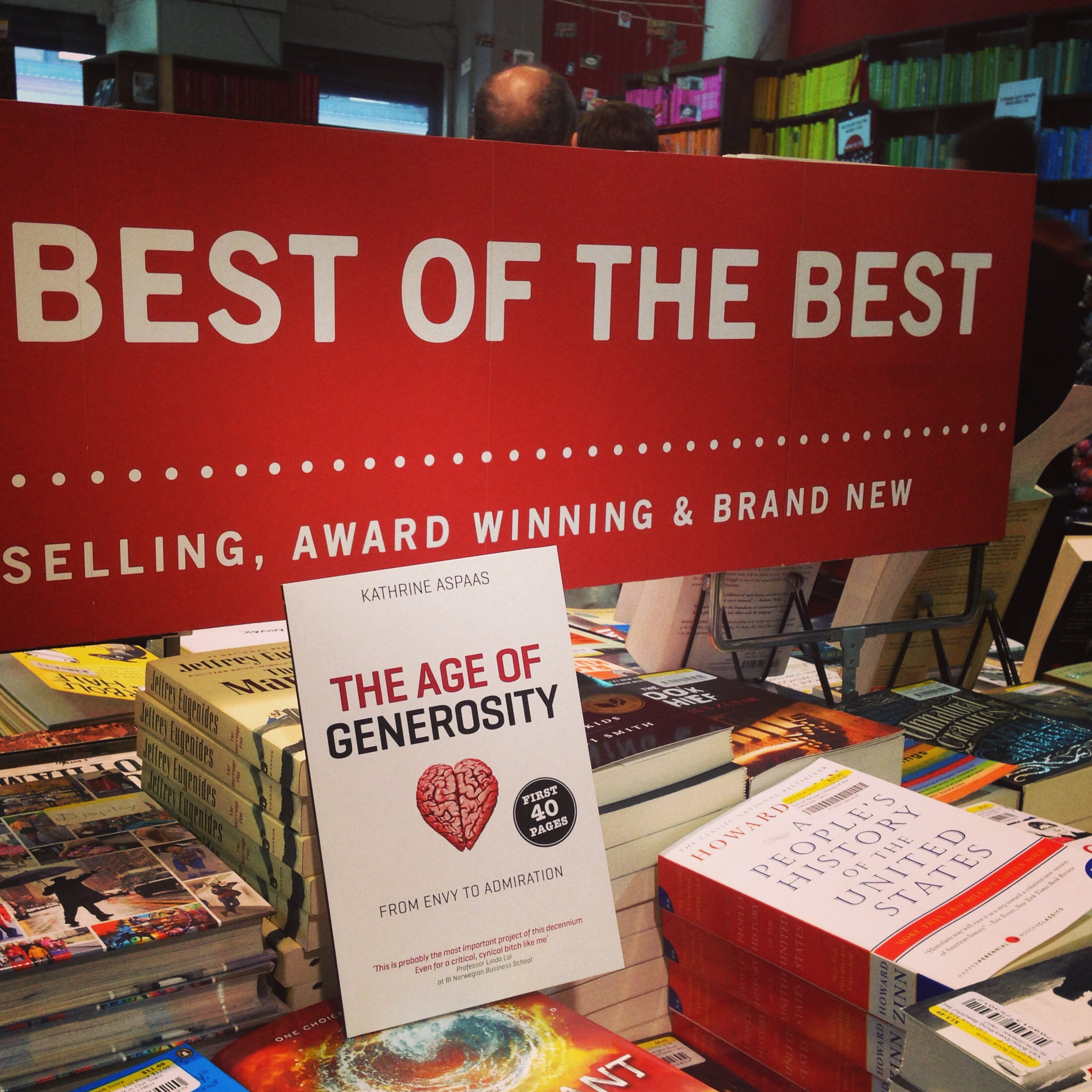 Geriilja-markedsføring hos legendariske Strand Bookstore på Broadway. Ganske så frekt - og veldig moro!