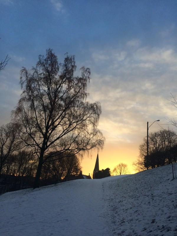 Fagerborg Kirke i solnedgang