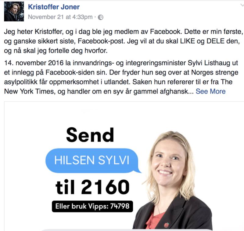Kristoffer Joner på Facebook